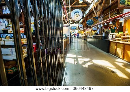 Vancouver, Canada - Apr 7, 2020: Gates Across Business Inside Granville Island Market During Coronav