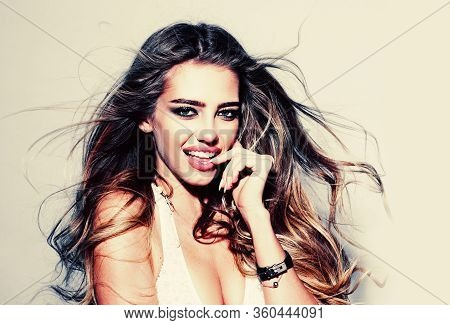 Dental Whiten Smile Concept With Beauty Woman. Whitening Teeth. Dental Concept, White Teeth. Dent An