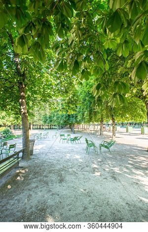 Tuileries Garden with Green Metal Chairs in a Sunny Spring Day in Paris. France.