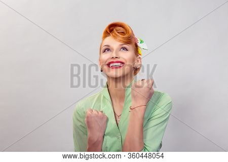 Lucky Girl. Closeup Portrait Happy Young Woman Happy Exults Pumping Fists Ecstatic Isolated Grey Whi