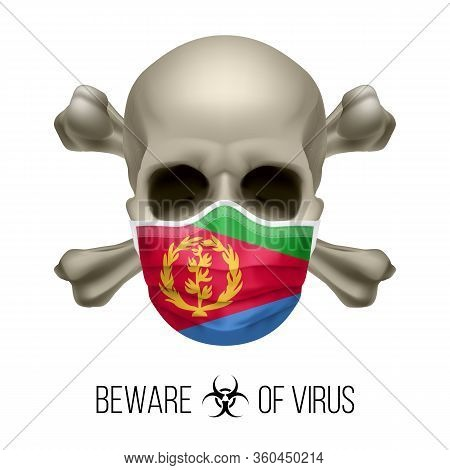 Human Skull With Crossbones And Surgical Mask In The Color Of National Flag Eritrea. Mask In Form Of