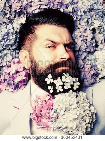 Flower Bow-tie. Elegant Business Man With Classical Costume. Man In Blue Suit. Bearded Man And Flowe