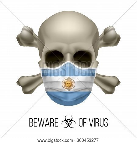 Human Skull With Crossbones And Surgical Mask In The Color Of National Flag Argentina. Mask In Form
