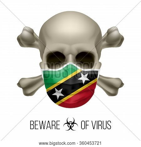Human Skull And Surgical Mask In The Color Of National Flag Federation Of Saint Kitts And Nevis. Mas