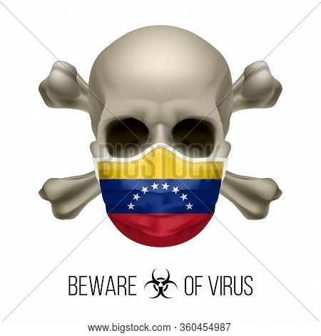 Human Skull With Crossbones And Surgical Mask In The Color Of National Flag Venezuela. Mask In Form