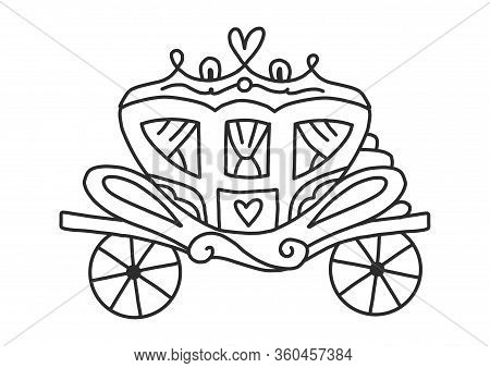 Coloring Book For Adults And Children With A Carriage From A Fairy Tale. Retro Wagon For People. Lov