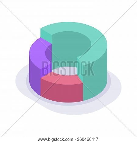 Circle Pie Chart Isometric Icon With Modern Flat Sty Le Color Vector