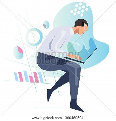 Man Looking At Laptop Screen Analyzing Data And Chart. Concept Of Statistics Information