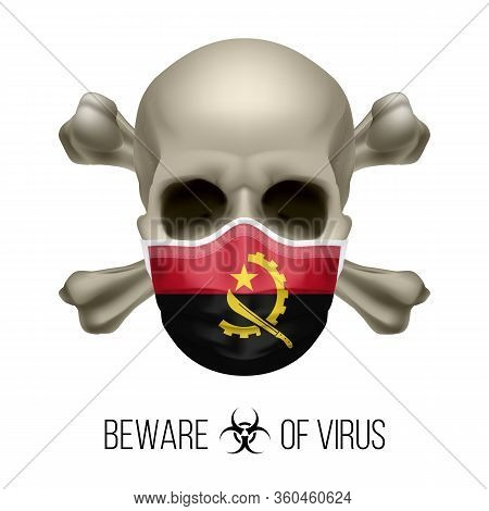 Human Skull With Crossbones And Surgical Mask In The Color Of National Flag Angola. Mask In Form Of