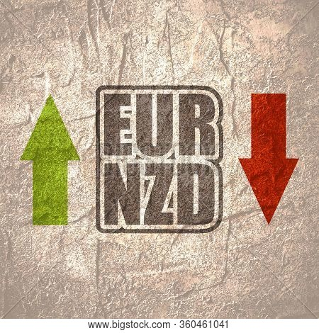 Financial Market Concept. Currency Pair. Acronym Eur - European Union Currency. Acronym Nzd- New Zea
