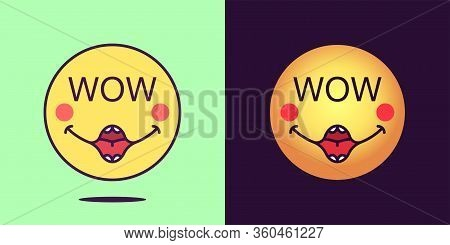 Emoji Face Icon With Phrase Wow. Enthusiastic Emoticon With Text Wow. Set Of Cartoon Faces, Emotion