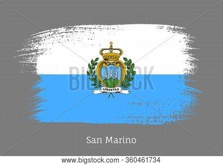 San Marino Official Flag In Shape Of Paintbrush Stroke. National Identity Symbol. Grunge Brush Blot