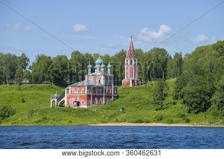 Old Church Of The Icon Of The Mother Of God Of Kazan On The Banks Of The Volga River On A Sunny July