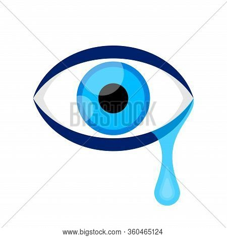Eyes Blue And Tears Cry Graphic Isolated On White, Eyes Look Simple Shape, Eyeball And Teardrop Sign