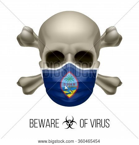 Human Skull With Crossbones And Surgical Mask In The Color Of National Flag Guam. Mask In Form Of Th