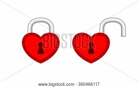 Heart Shaped Padlock Red In Locked And Unlocked Isolated On White, Red Padlock Heart For Love Romant
