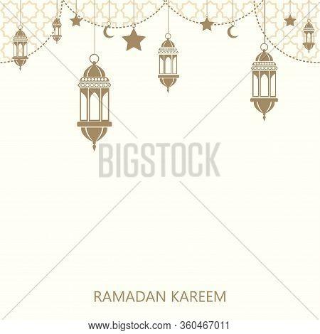 Ramadan Kareem Greeting Background With Hanging Islamic Ornaments. Vector.