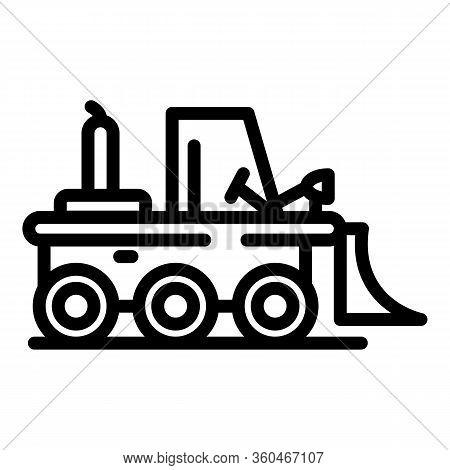 Bulldozer Icon. Outline Bulldozer Vector Icon For Web Design Isolated On White Background