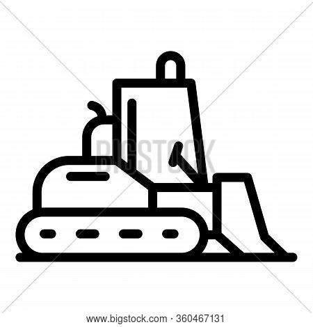 Building Bulldozer Icon. Outline Building Bulldozer Vector Icon For Web Design Isolated On White Bac