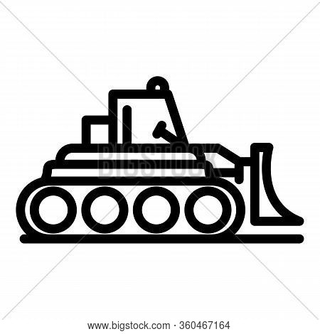 Business Bulldozer Icon. Outline Business Bulldozer Vector Icon For Web Design Isolated On White Bac