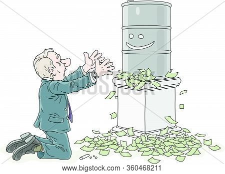 Businessman Praying For Higher Prices Of Oil And Kneeling Before A Barrel On A Pedestal Among A Pile