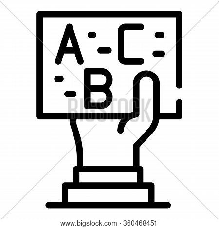 Hand With Abc Card Icon. Outline Hand With Abc Card Vector Icon For Web Design Isolated On White Bac