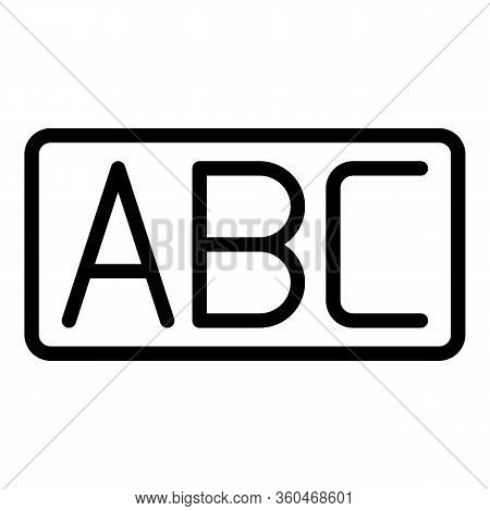 Inscription Abc Icon. Outline Inscription Abc Vector Icon For Web Design Isolated On White Backgroun