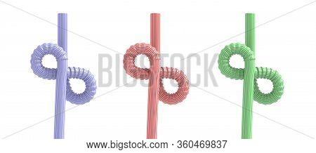 Drinking Straws Infinity Symbol Isolated Against White Background. 3D Illustration