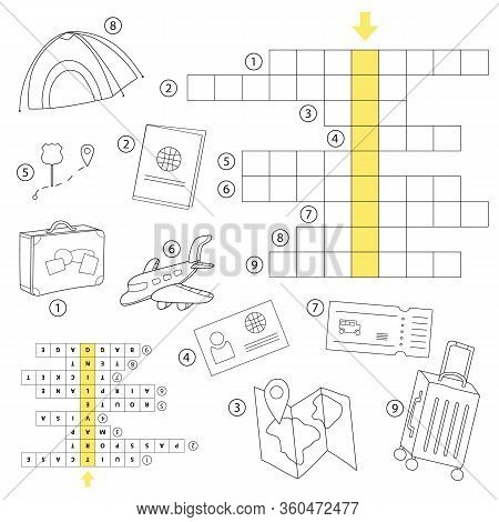 Crossword Puzzle Game For Preschool Kids Activity Worksheet. Study English Words. Vector Cartoon Ill