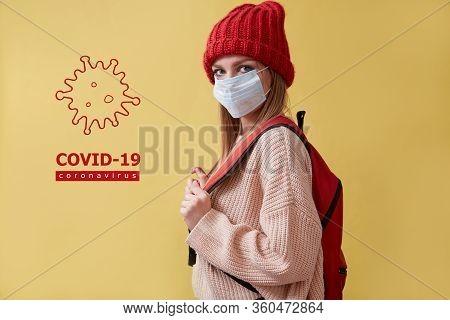 Stop Coronavirus Pandemia. Novel Sars Cov2. Prevent Infection Spread. Woman In Mask. Covid-19 Inscri