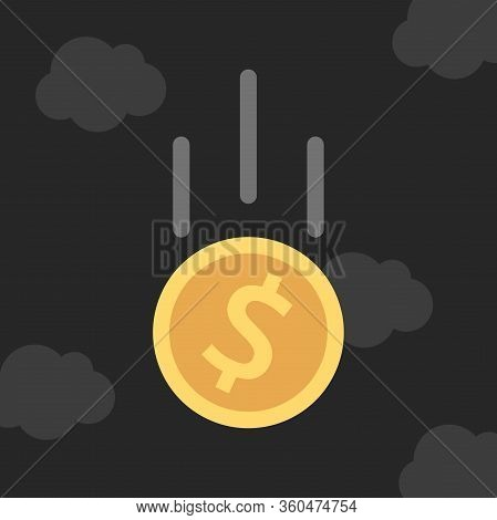 Gold Dollar Coin Falling In Dark Gloomy Black Sky. Financial Crisis, Savings, Inflation, Currency An