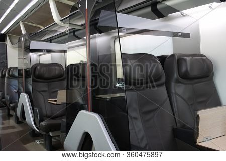 Row Of Passenger`s Brown Leather Seat Of First Class On High Speed Train, Empty Comfortable Luxury V