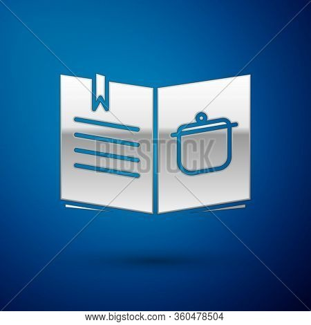 Silver Cookbook Icon Isolated On Blue Background. Cooking Book Icon. Recipe Book. Fork And Knife Ico