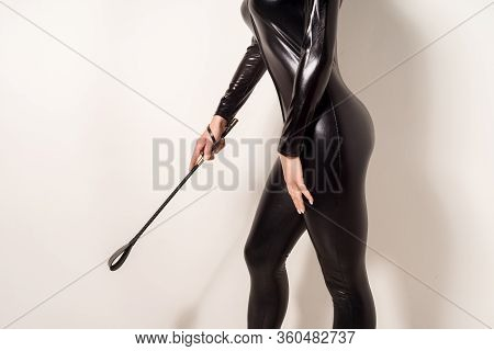 Adult Sex Games. Submissive Girl In Spandex Catsuit Waiting For Punishment. Spanking. Bdsm Theme. -