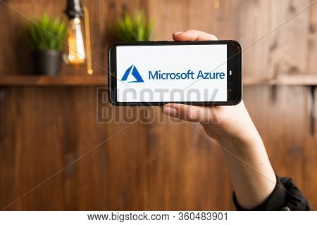 Tula Russia 16.01.20 Microsoft Azure On The Phone Display Isolated.