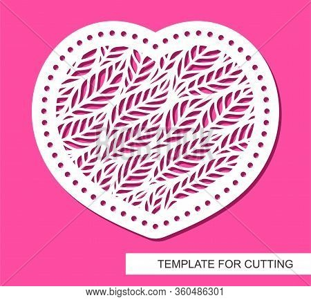 Decorative Vector Card Heart. Floral Ornament Of Leaves. Design Element, Sample Panel For Plotter Cu