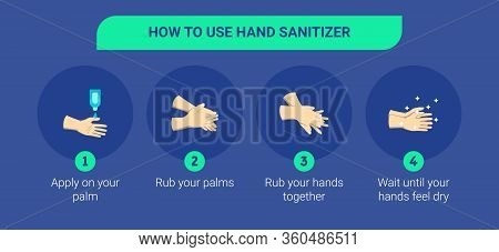 Step By Step Infographic Illustration Of How To Use Hand Sanitizer. Infographic Illustration Of How