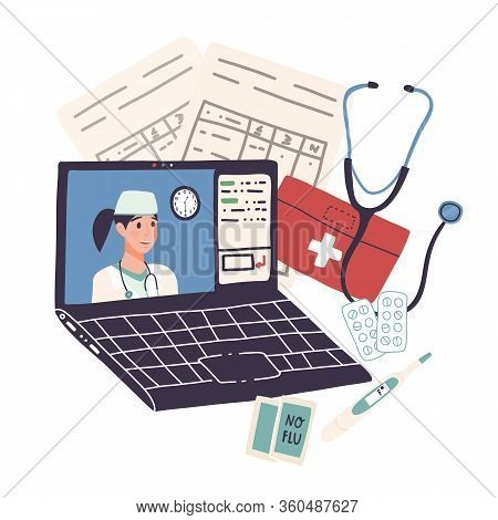 Online Doctor Consultation, Distant Healthcare On Quarantine Or Self-isolation Concept.video Call Fo