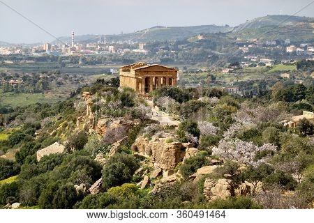 The Landscape With The Tempio Della Concordia In Valley Of The Temples Near Agrigento, Sicily, Italy