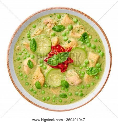 Thai Green Curry With Chicken Or Gaeng Kaew Wan Gai Isolated On White Background Thai Green Curry Is