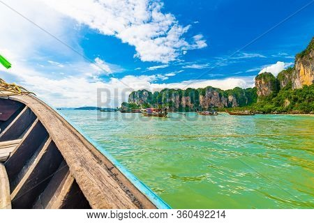 View From Boat Going To Famous Railay Beach In Krabi Town, Thailand. Favorite Place In Thailand With