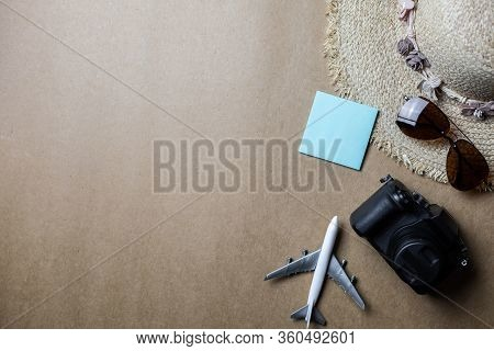 Top View Of Accessories Used For Leisure Travelers.