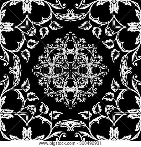 Baroque Vector Seamless Pattern. Old Style Floral Damask Background. Beautiful Repeat Backdrop. Anti