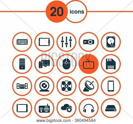 Gadget Icons Set With Sound System, Keyboard, Projector And Other Tablet Elements. Isolated Vector I