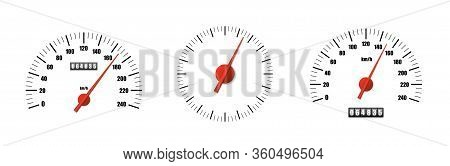 Realistic Speedometer Pack Isolated On White Background. Sport Car Odometer With Motor Miles Measuri