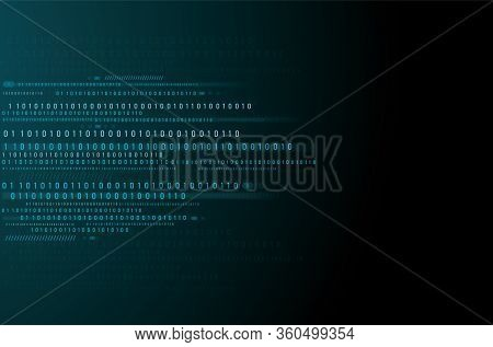 Abstract Technology Background. Binary Data And Streaming Binary Code Background. Vector Illustratio