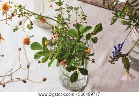 Meadow Natural Wildflowers Bouquet In Glass Jar Linen Tablecloth Background. Herbal Medicine And Phy