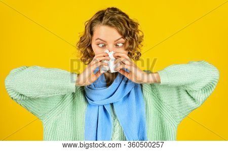 Cold Flu Symptoms. Sick Woman Blowing Nose. Chronic Sinusitis. Contagious Respiratory Disease. Influ