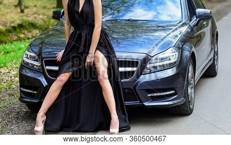 Provocative Concept. Luxury Car. Escort And Sexual Services. Seductive Pose. Sex In Car. Driver Girl