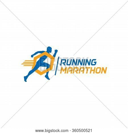 Running Marathon Logo Sport And Speed, Vector